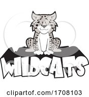 Cartoon Grayscale Leopard School Sports Mascot Sitting On Wildcats Text