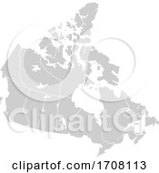 Gray Silhouette Map Of Canada