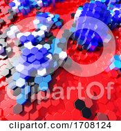 3d Red White And Blue Plastic Hexagonal Blocks In Abstract Design