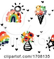 Poster, Art Print Of Bold And Playful Background Pattern Of Rainbows Suns Ice Cream Shooting Stars And Hearts