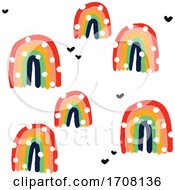 Bold And Playful Background Pattern Of Rainbows And Hearts