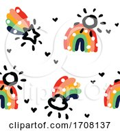 Bold And Playful Background Pattern Of Rainbows
