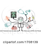 Poster, Art Print Of Stick Male Doctor Wearing A Coronavirus Mask And Multitasking
