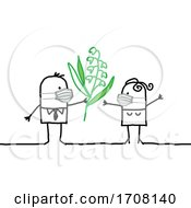 Poster, Art Print Of Stick Couple Wearing Coronavirus Masks And The Man Giving The Woman Flowers