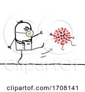 Stick Male Doctor Wearing A Mask And Kicking A Coronavirus