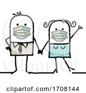 Stick Couple Wearing Coronavirus Masks by NL shop