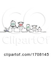 Poster, Art Print Of Stick Family Wearing Coronavirus Masks