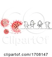 Poster, Art Print Of Stick People Running From Human Eating Viruses