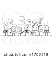 Poster, Art Print Of Stick Business People Wearing Coronavirus Masks
