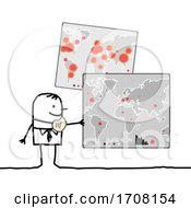 Poster, Art Print Of Stick Man Holding A Map Showing The Coronavirus Outbreak