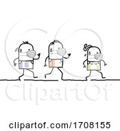 Stick People Wearing Coronavirus Masks And Running A Marathon