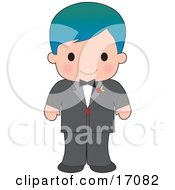 Handsome Blue Haired Caucasian Boy Wearing A Tuxedo Clipart Illustration