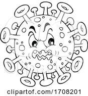 Cartoon Black And White Virus Character