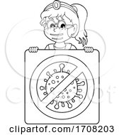 Cartoon Black And White Female Doctor Over A Virus Sign