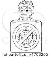 Cartoon Black And White Male Doctor Over A Virus Sign