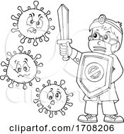 Cartoon Male Doctor Fighting Viruses