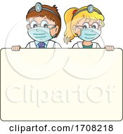 Cartoon Doctor And Nurse Over A Sign