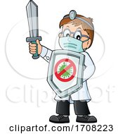 Cartoon Male Doctor Holding Up A Sword And Virus Shield