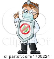 Cartoon Male Doctor Holding Up A Virus Shield by visekart