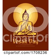 Vesak Day Buddha Sit Under Full Moon