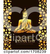 Vesak Day Holiday Gold Buddha In Meditation