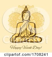 Happy Vesak Day Holiday Buddha In Meditation