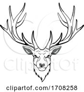 Tough Black And White Deer Stag Mascot