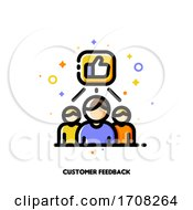 Icon With Business Team And Hand Thumbs Up Which Symbolize Good Customers Product Rating For Positive Users Feedback Concept Flat Filled Outline Style Pixel Perfect 64x64 Editable Stroke