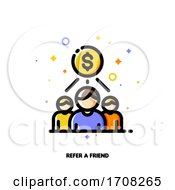 Icon With Business Team And Dollar Sign For Partner Program Or Referrals Network Concept Flat Filled Outline Style Pixel Perfect 64x64 Editable Stroke