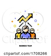 Icon With Business Team And Chart Of Increasing Income For Financial Growth Concept Flat Filled Outline Style Pixel Perfect 64x64 Editable Stroke
