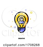 Icon Of User Photo And Light Bulb As Innovative Idea Symbol For Creative Person Concept Flat Filled Outline Style Pixel Perfect 64x64 Editable Stroke