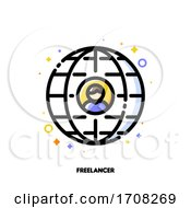 Poster, Art Print Of Icon Of User Photo On Background Of Globe For Freelance Or Self-Employment Concept Flat Filled Outline Style Pixel Perfect 64x64 Editable Stroke
