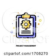 Task Management Checklist Icon With Clipboard And Gear For Project Plan Or Efficient Work Concept Flat Filled Outline Style Pixel Perfect 64x64 Editable Stroke