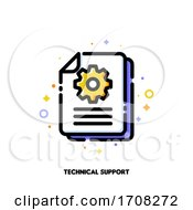 Manual Document Icon With Paper File And Gear For Big Data Processing Technology Or Capturing Digital Information Concept Flat Filled Outline Style Pixel Perfect 64x64 Editable Stroke