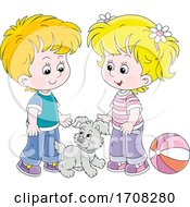 Poster, Art Print Of Children With A Puppy