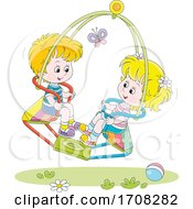 Poster, Art Print Of Children On A Dual Swing