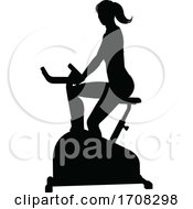 04/19/2020 - Gym Woman Silhouette Stationary Exercise Spin Bike
