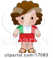 Cute Italian Girl Wearing A Flag Of Italy Shirt Clipart Illustration