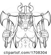 Poster, Art Print Of Viking Female Gladiator Warrior Woman Team Mascot