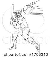 04/19/2020 - Panther Baseball Player Mascot Swinging Bat