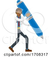 04/19/2020 - Asian Doctor Man Holding Pen Mascot Concept