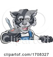 Poster, Art Print Of Wolf Electrician Handyman Holding Screwdriver