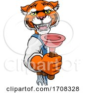 Poster, Art Print Of Tiger Plumber Cartoon Mascot Holding Plunger