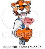 04/19/2020 - Tiger Plumber Cartoon Mascot Holding Plunger