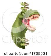 04/19/2020 - Dinosaur T Rex Peeking Around Sign Cartoon