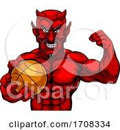04/19/2020 - Devil Basketball Sports Mascot Holding Ball
