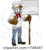 Bulldog Chef Cartoon Restaurant Mascot Sign