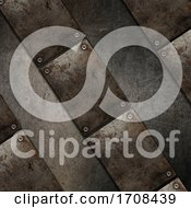 3D Grunge Texture Background With Metal Plate Design