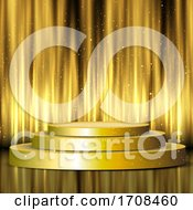 Golden Display Podium On Silk Curtains Background