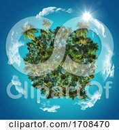 Poster, Art Print Of 3d Globe With Tropical Palms And Grasses With Clouds